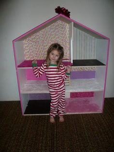 Huge bookshelf turned Barbie house.  Free pattern, too.