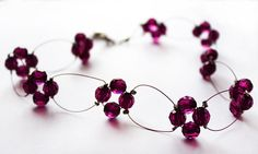 Choker necklace purple wire and beads by asteriascollection