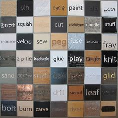 Tinkering Verb Tiles wall at the Exploratorium's Tinkering Studio. Each tile is made with the method, material, or tool used to make it