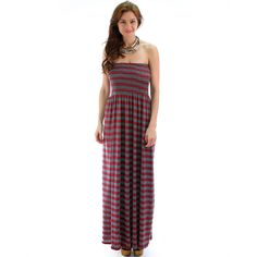 Fashion Club Usa Strapless Stripes Maxi Dress ($30) ❤ liked on Polyvore featuring plus size women's fashion, plus size clothing, plus size dresses, burgundy grey, maxi dress, long gray dress, stripe maxi dress, strapless dress and long dresses