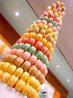 Macaron tower or macaron croquembouche looks magnificent at weddings, anniversaries and special occasions. It can make your event even more memorable and special.    To create your own macaron tower you will need a good recipe for macarons, a Styrofoam cone, and some inspiration.