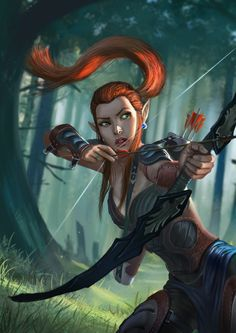 f High Elf Ranger Med Armor Longbow Conifer Forest hills trail fantasy female med Fantasy Life, Fantasy Warrior, Fantasy Rpg, Fantasy Artwork, Fantasy Women, Elf Characters, Dungeons And Dragons Characters, Fantasy Characters, Fantasy Character Design