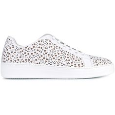 Alaïa Laser Cut Leather Sneakers (40.575 RUB) ❤ liked on Polyvore featuring shoes, sneakers, white shoes, leather footwear, leather sneakers, laser cut shoes and white leather trainers