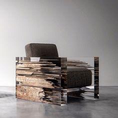 ID: Chipperfield 2 Category: Armchair. Materials: Plexiglas, wood, textile.  Size: 90cm X 90cm X 80cm.