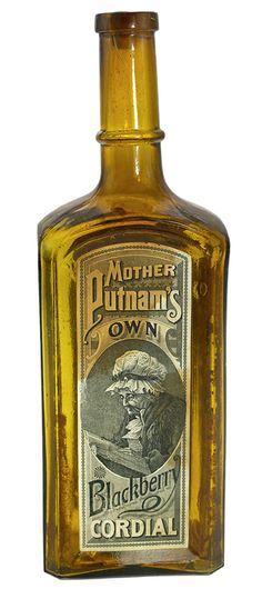 """MOTHER PUTNAM'S / BLACKBERRY CORDIAL - RHEINSTROM BROS. / PROPRIETORS"""", Ohio, ca. 1885 - 1895, yellow amber, 10 7/8""""h, smooth base, applied mouth, 99% original front and reverse labels say 'Mother Putnam's Own Blackberry Cordial."""