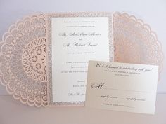 Laser Cut Wedding Invitation Doily Laser by LavenderPaperie1