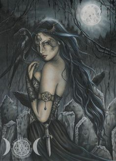 "The Morrigan is a goddess of battle, strife, and fertility. Her name translates as either ""Great Queen"" or ""Phantom Queen,"" and both epithets are entirely appropriate for her. The Morrigan appears as both a single goddess and a trio of goddesses. The other deities who form the trio are Badb (""Crow""), and either Macha (also connotes ""Crow"") or Nemain (""Frenzy""). The Morrigan frequently appears in the ornithological guise of a hooded crow. She is one of the Tuatha Dé Danann"