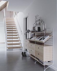 The gorgeous hallway of 👈🏻 String Shelving System available to order in our online store 💫 . String Regal, String Shelf, Interior Styling, Interior Design, Scandinavian Home, Shelving Systems, House Inside, Music Studio Room, Houses