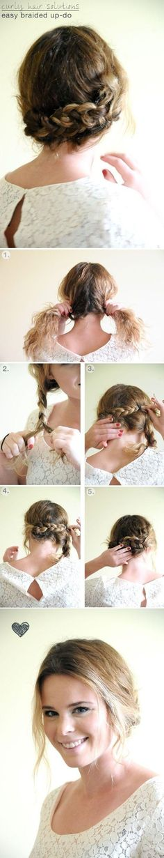 Simple Braided Updo Hairstyles Tutorial: Updos for Medium Hair