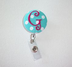 Retractable ID Badge Holder Reel  - Fabric Button - White polka dots on Aqua with Pink monogram