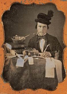 chubachus: Daguerreotype portrait of a book or newspaper editor, c. 1855. Source. More information.