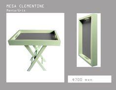 mesita de servicio color menta, mesa lateral, mesa de centro, mesa de madera, plegable algreca.com