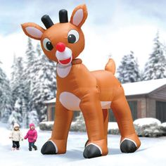 the animated inflatable rudolph reindeer christmas outdoor lawn decoration - Blow Up Christmas Decorations