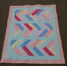 Pieced Baby Quilt - Wall Hanging - handmade quilted crib by TravisCreek on Etsy