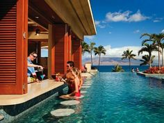 The Four Seasons Maui gets a lot of love from our readers (it was ranked one of Hawaii's top resorts in our Readers' Choice Awards this year) and we suspect its Serenity Pool might have a little something to do with it. The 2,650-square-foot infinity pool overlooks Wailea Beach, the island of Lanai, and the West Maui mountains. There are bubble loungers, an underwater music system, two hot tubs, and then—of course—the swim-up bar. If you'd rather nurse your mai tai by the pool than in it…