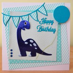 Handmade Birthday Card - Marianne Collectables Dinosaur Die. For more of my cards please visit the CraftyCardStudio on Etsy.com.