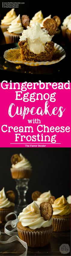 Gingerbread cupcakes with an Eggnog Filling and Cream Cheese Frosting - Super soft, moist gingerbread spiced cupcakes with a perfect crumb and an amazingly festive flavor profile, filled with a creamy eggnog pastry cream filling and a fluffy cream cheese (cream cheese frosting for cookies)