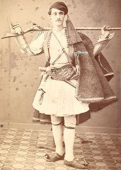 CDV from Athens, Greece Man in Native Costume with Rifle and Pistol ca 1860'S | eBay
