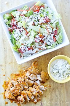 Buffalo Chicken Salad // scrumptious and fresh way to get your wings on without all the fat via Yellow Bliss Road