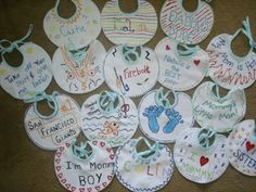 Baby Shower Game- decorate a bib!  Mom picks her favorite, and that guest wins a prize.