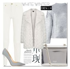 """On Trend: Winter White Denim"" by fattie-zara ❤ liked on Polyvore featuring Acne Studios, DKNY, Rochas, Jimmy Choo, Topshop and winterwhite"