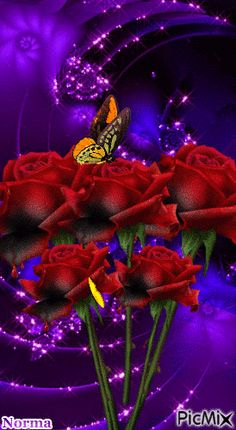 Discover & Share this Animated GIF with everyone you know. GIPHY is how you search, share, discover, and create GIFs. By Artist Unknown. Butterfly Flowers, Beautiful Butterflies, Beautiful Flowers, Purple Flowers, Gif Pictures, Pretty Pictures, Beau Gif, Rose Images, Beautiful Gif