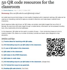 50 QR code resources for the classroom   http://www.zdnet.com/blog/igeneration/50-qr-code-resources-for-the-classroom/16093