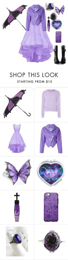 """Outfit 386"" by creaturefeaturerules ❤ liked on Polyvore featuring Glamorous, Thierry Mugler, Stephen Webster, Manic Panic NYC, Couture by Lolita, purple, black and Boots"