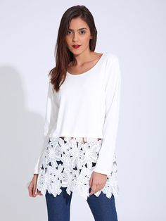 Sale 18% (21.29$) - Casual Women Long Sleeve Lace Stitching O-Neck T-shirts