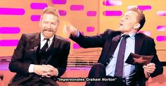 """(gif) Tom impersonates Graham Norton. Hilarious. """"And you, you haven't been on the show"""",  Spectacularly spot on!"""