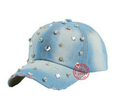 new popular woman snapback hat bling crystal beads rhinestone denim casual  women girl brand baseball cap outdoor casual gorras 20f13ebf37a