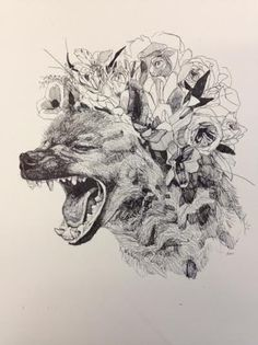 Hyena with Flower Crown original drawing by AlexandraLoesser
