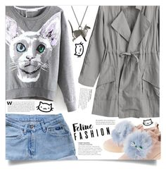 """""""The Cat's Meow: Feline Fashion"""" by dolly-valkyrie ❤ liked on Polyvore featuring Levi's, Origami Jewellery and felinefashion"""