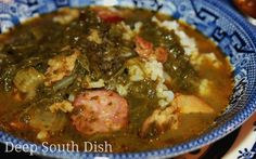 Gumbo Z'herbes is a traditional green gumbo made with multiple greens, a wide variety of meats and traditionally served on Holy Thursday before Easter. Sometimes it is prepared meatless to be served during Lent.