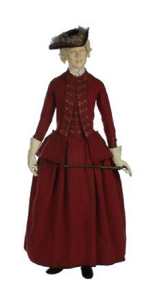 vestido para mujer cosido a mano, práctico para montar a caballo, viajar y caminar al aire libre, basado en la chaqueta y chaleco de hombre. 1770-1775.