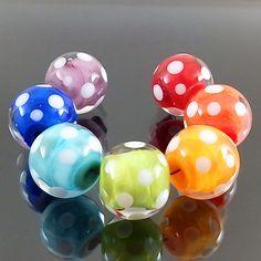 PIKALDA=handmade lampwork 7 beads glass=RAINBOW DOT=SRA