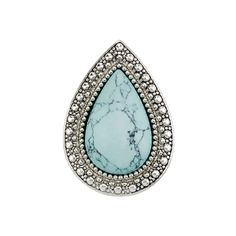 INTRICATELY DESIGNED AND UNIQUELY BEAUTIFUL THIS STATEMENT RING IS A MUST HAVE THAT WILL HAVE YOU EMBRACING YOUR INNER BOHEMIAN. FEATURING A TEARDROP SHAPED BLIZZARD BLUE STONE ENCASED BY EMBOSSED ANTIQUE SILVER THIS RING IS SURE TO BE ADORED.