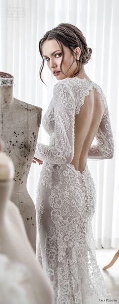 asaf dadush 2017 bridal long sleeves deep v sweetheart neckline full embellishment sexy elegant sheath wedding dress keyhole back sweep train (06) zbv