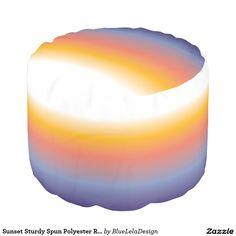 Sunset Sturdy Spun Polyester Round Pouf