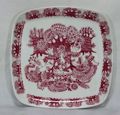 """Vintage Figgjo Flint Arden Square Plate 7.5"""" Red Figural Made In Norway"""