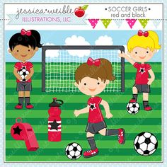 Soccer Girls RED  Cute Digital Clipart for by JWIllustrations