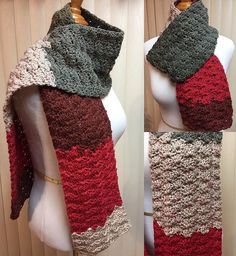 Crochet Scarf, Red Scarf, Shell Stitch Scarf, Red and Gray Scarf, Red Crochet Scarf, Red Winter Scarf, Unisex Scarf, Color Block Scarf by CozyNCuteCrochet on Etsy