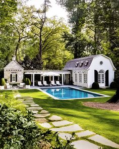 The Perfect Pool House is part of Dream house exterior - Today I thought I'd talk about the ultimate summer living accessory, the pool house the perfect great escape! Pool House Designs, Backyard Pool Designs, Swimming Pools Backyard, Backyard Patio, Outdoor Pool, Backyard Ideas, Lap Pools, Indoor Pools, Backyard With Pool