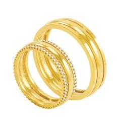 Par de Alianças em Ouro 18K com Diamantes - AU2575   Bruna Tessaro Joias -  brunatessaro 5000449033