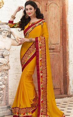 Impressive Gold Yellow Latest Online Saree