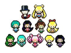 TheseSailor Moon perler sprites are handmade to order. You can choose 1, 3, 6 or a full set from the following characters: - Tuxedo Mask (3