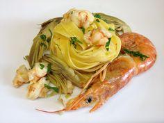 architettando in cucina: Tagliatelle gamberoni e carciofi - ricetta light