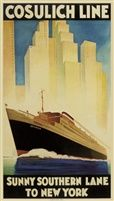 Cosulich line Sunny Southern Lane to New York poster by GiuseppeRiccobaldi