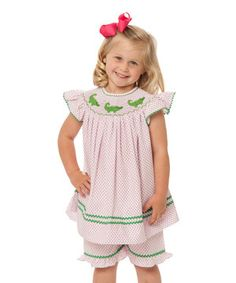 Look what I found on #zulily! White Gator Smocked Top & Shorts - Infant, Toddler & Girls by Smockadot Kids #zulilyfinds