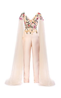 Crafted in Mikado silk, this **Mark Bumgarner** jumpsuit features a plunging v-neckline, a sleeveless silhouette with tulle cape design, and straight legs. Cute Casual Outfits, Chic Outfits, Fashion Outfits, Prom Jumpsuit, Cape Jumpsuit, Mark Bumgarner, Fashion Terms, Designer Jumpsuits, Fashion Dictionary